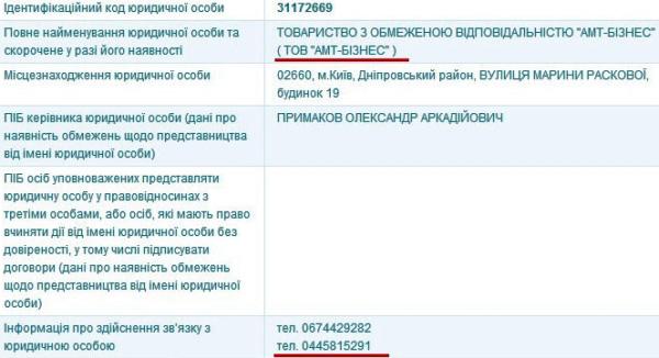 Скриншот из ЕГР: АМТ-Бизнес
