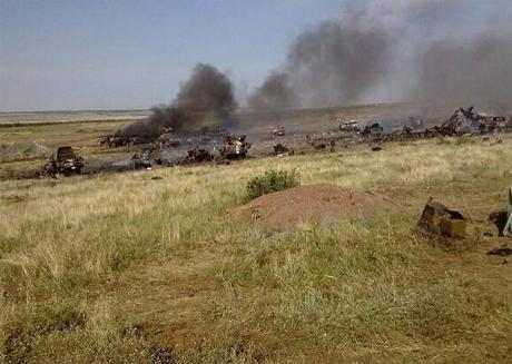 Так выглядит локация армии после того, кк ее обсреляли Грады боевиков. Фото с ФБ Соломии Витвитской