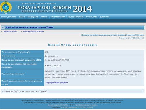 Скриншот с сайта ЦИК