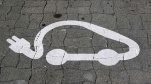 The pictogram of an electric car is painted on a parking space in Strasbourg