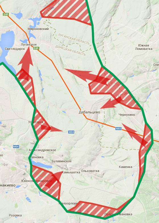 Карта на основе данных журналиста Юрия Бутусова и информации от штаба АТО